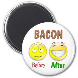 Bacon Before After 2 Inch Round Magnet