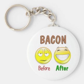 Bacon Before After Basic Round Button Keychain