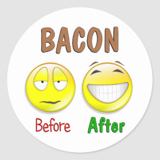 Bacon Before After Classic Round Sticker