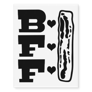 Bacon Best Friends Forever BBFF Temporary Tattoos