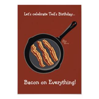 """Bacon Birthday Party Invitation 5"""" X 7"""" Invitation Card"""