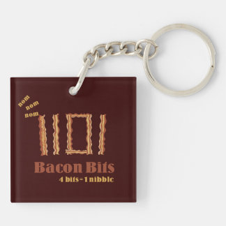 Bacon Bits Double-Sided Square Acrylic Keychain