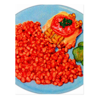 Bacon Bueger and Beans Vintage Kitsch Ad Art Postcard