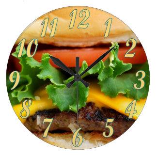 Bacon Cheeseburger Large Clock