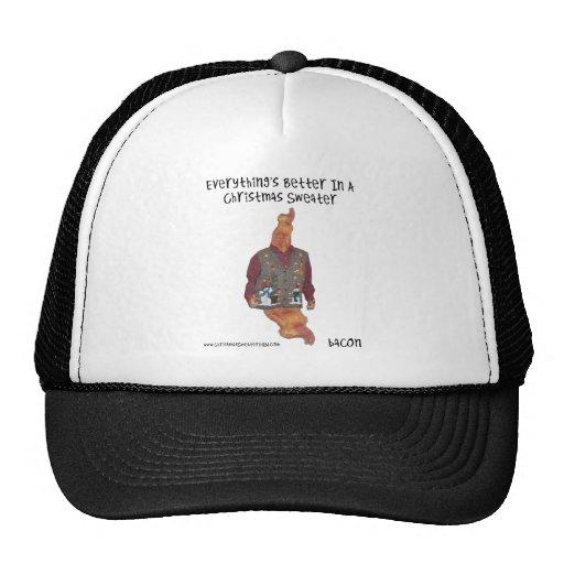 Bacon-Christmas Sweater-ized Trucker Hat