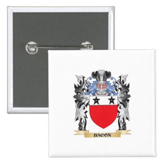 Bacon Coat of Arms - Family Crest 2 Inch Square Button