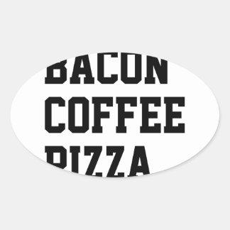 Bacon Coffee Pizza Oval Sticker