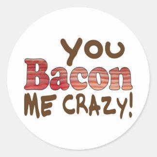 Bacon Crazy Classic Round Sticker