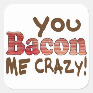 Bacon Crazy Square Sticker
