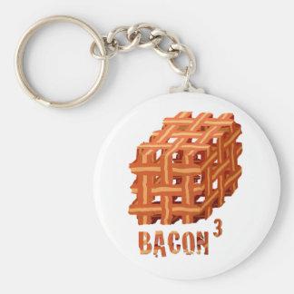 Bacon Cubed Basic Round Button Keychain