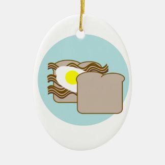 Bacon & egg sandwich Double-Sided oval ceramic christmas ornament