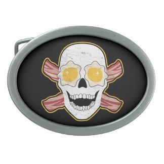 Bacon & Eggs Skull Oval Belt Buckle