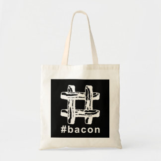 Bacon Fest Hashtag (Black Background) Budget Tote Bag