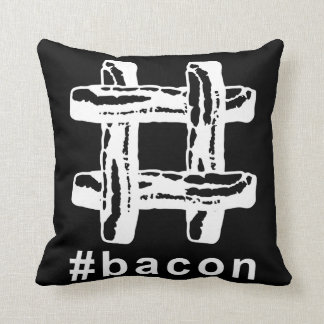 Bacon Fest Hashtag (Black Background) Throw Pillow