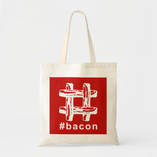 Bacon Fest Hashtag (Red Background) Budget Tote Bag