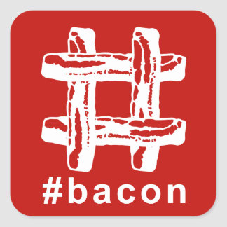 Bacon Fest Hashtag (Red Background) Square Sticker