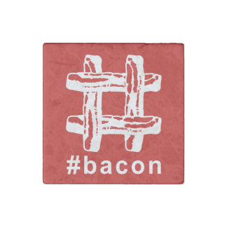 Bacon Fest Hashtag (Red Background) Stone Magnet