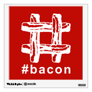 Bacon Fest Hashtag (Red Background) Wall Sticker