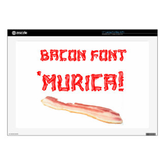 "Bacon Font 'Murica! Decals For 17"" Laptops"