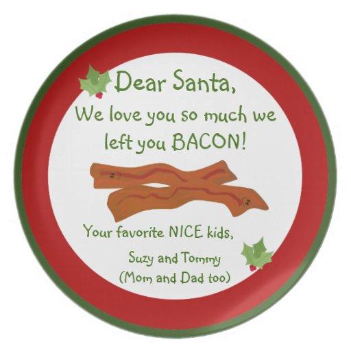 Bacon for Santa Plate
