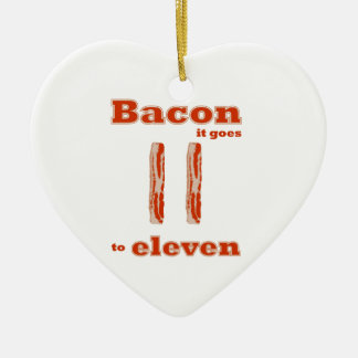 Bacon Goes to Eleven Double-Sided Heart Ceramic Christmas Ornament