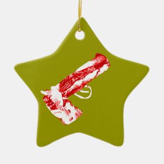 Bacon Gun Ceramic Ornament