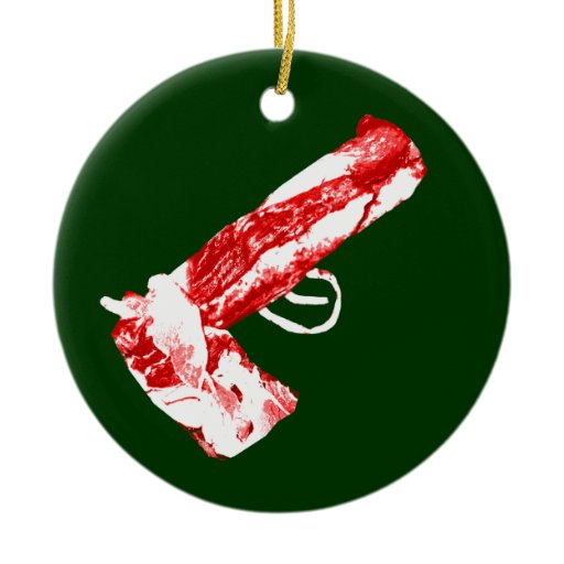 Bacon gun double sided ceramic round christmas ornament for Bacon christmas tree decoration