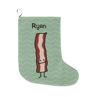 Bacon Happy Smirk Classic Simple Food Design Large Christmas Stocking