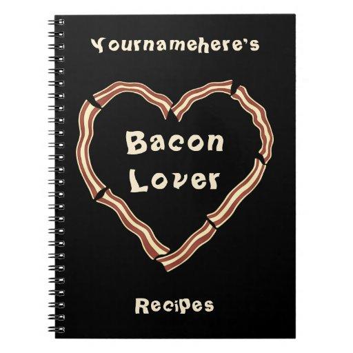 Bacon heart blank recipe journal notebook
