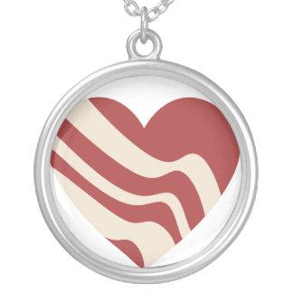 Bacon Heart Round Pendant Necklace
