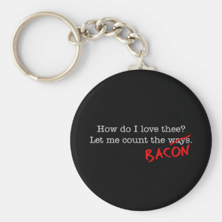 Bacon How Do I Love Thee Basic Round Button Keychain
