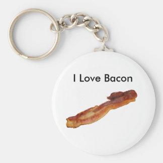 bacon, I Love Bacon Basic Round Button Keychain