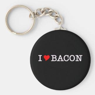 Bacon I Love Basic Round Button Keychain