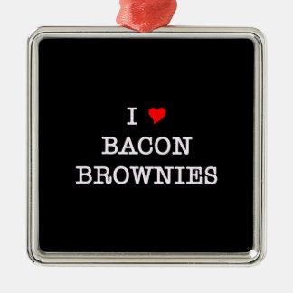 Bacon I Love Brownies Metal Ornament