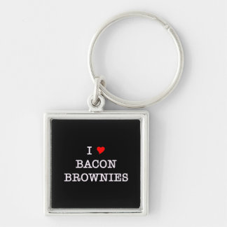 Bacon I Love Brownies Silver-Colored Square Keychain