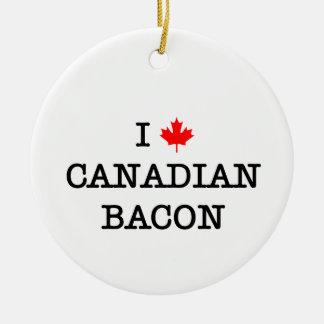 Bacon I Love Canadian Ceramic Ornament
