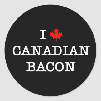 Bacon I Love Canadian Classic Round Sticker