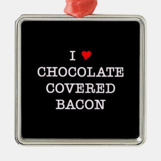 Bacon I Love Chocolate Metal Ornament