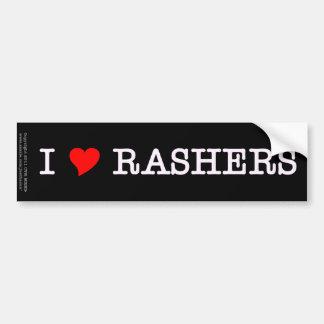 Bacon I Love Rashers Bumper Sticker