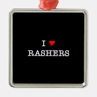Bacon I Love Rashers Metal Ornament