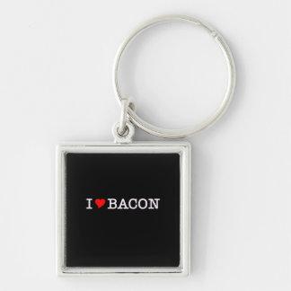 Bacon I Love Silver-Colored Square Keychain
