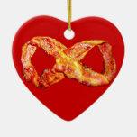 Bacon Infinity Double-Sided Heart Ceramic Christmas Ornament