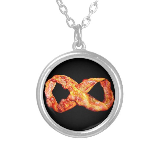 Bacon Infinity Silver Plated Necklace