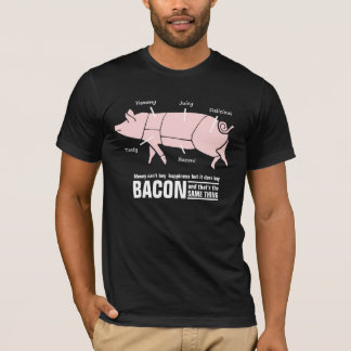 Bacon is Happiness Funny Pig Butcher Chart T-Shirt