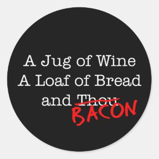 Bacon Jug of Wine Classic Round Sticker