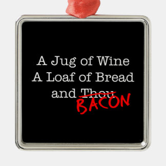 Bacon Jug of Wine Metal Ornament