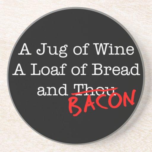 Bacon Jug of Wine Sandstone Coaster