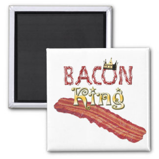 Bacon King with Crown 2 Inch Square Magnet