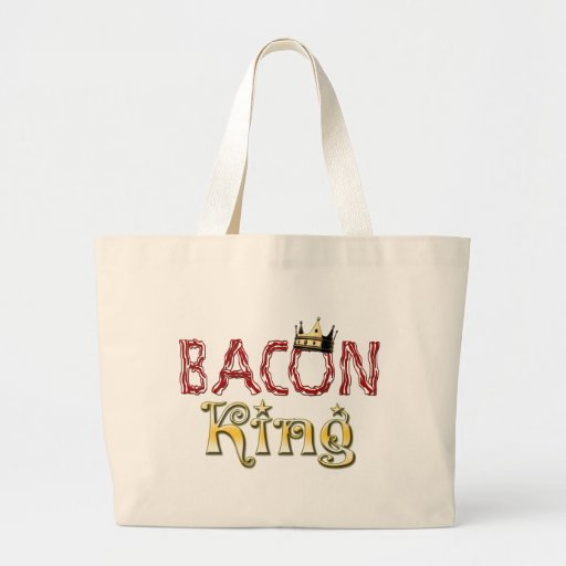 Bacon King with Crown Large Tote Bag