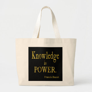 Bacon Knowledge is Power Quote Gold Faux Glitter Jumbo Tote Bag
